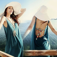 Sexy Scoop Neck Backless Womens Sundress Beach Cover Up Dress Swimwear Bikini (Size: M, Color: Blue) = 5657604673
