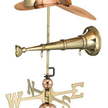 Firefighter Weathervane - Polished Copper