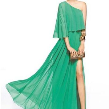 Asymmetric One-Shoulder Plain Women's Maxi Dress