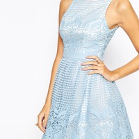 Chi Chi London Petite Laser Cut Prom Dress with Full Skirt