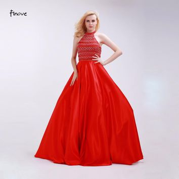 Finove Red Prom Dresses Stunning Beading Halter Backless 2017 New Floor-Length Gowns Sleeveless Satin Party Dresses for Woman