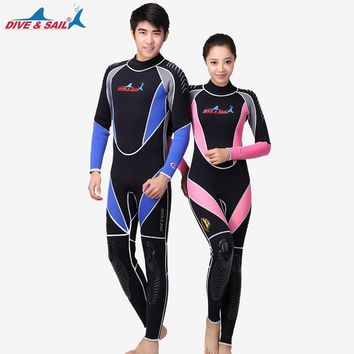 Men women Neoprene 3MM Scuba dive  Wetsuits Snorkeling Diving Jumpsuit One piece long sleeved Spearfishing Surf wetsuits