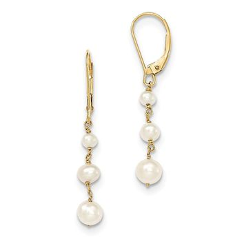 14K Yellow Gold Polished F.W. Cultured Pearl Drop Hinged Hoop Dangle