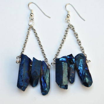 Blue Quartz Trapeze Earrings, Quartz Dangle Earrings