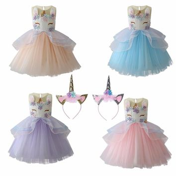 New Baby Girl Dress 2018 New Kids Cartoon Little Pony Unicorn Dress Kids Tulle Princess Party Dress Children Cosplay Clothes