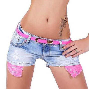 Sexy Women High Waist Destroyed Denim Mini Jeans Hole Shorts Tassels