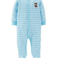 "Carter's Baby-boys' ""Pirate"" Cotton Snap Up Sleep and Play Blue Stripe"