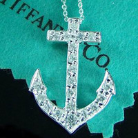 Best Tiffany Anchor Pendant Round Brilliant Diamonds Designer TFNL2 Outlet Sale For Cheap