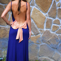 Love At First Sight Maxi Dress: Navy/Peach | Hope's