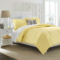 Full / Queen Size Cotton Comforter in Solid Yellow - Kids Teens Adults