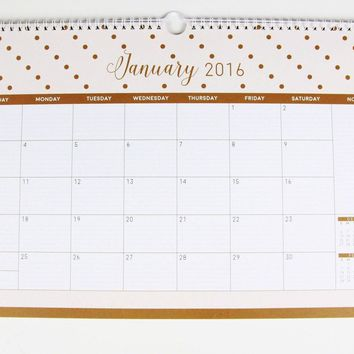 2016 Goal Digger Monthly Wall Calendar - 11 x 16 in White Coil Color Pages. C...