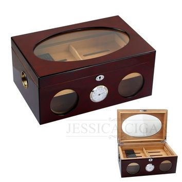 COHIBA Cedar Wood Glass Decoration Cigar Humidor Locked Tobacco Storage Box With Wooden Tray Built-in Hygrometer Humidifier