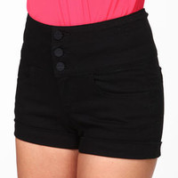 High Waisted Black Shorts - LoveCulture