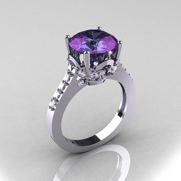 Classic 10K White Gold 3.0 Carat Alexandrite Pave by artmasters
