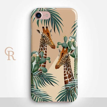 Giraffe Phone Case For iPhone 8 iPhone 8 Plus iPhone X Phone 7 Plus iPhone 6 iPhone 6S  iPhone SE Samsung S8 iPhone 5 Animal Floral Palm