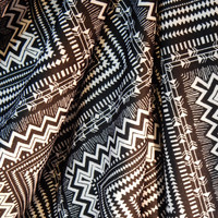 "Aztec Chevron ITY Knit Stretch Fabric in Black and White 60"" Wide per Half Yard"