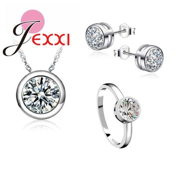 JEXXI Classic Women Engagement 925 Sterling Silver Shinny  CZ Wedding Necklace/Earring/Ring Jewelry Sets For Women