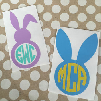 Easter Bunny Decal | Easter Bunny Monogram | Monogrammed Easter Bunny| Easter Basket Decal | Personalized Easter Basked | Bunny Decal