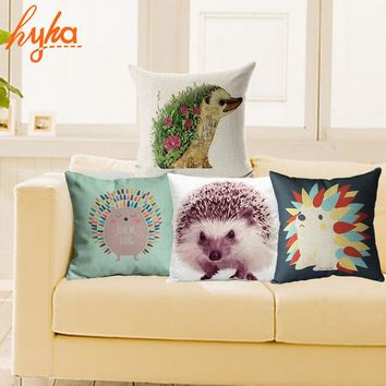 Cushion Cover Variety Hedgehog Pillow Case 18x18 inches Cotton Linen Cushions Back Wedding Throw Decorative Pillows
