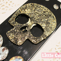 1 pc Large Floral Skull Alloy 3D Charm Craft Art DIY Cell Phone Case Cabochon deco decoden
