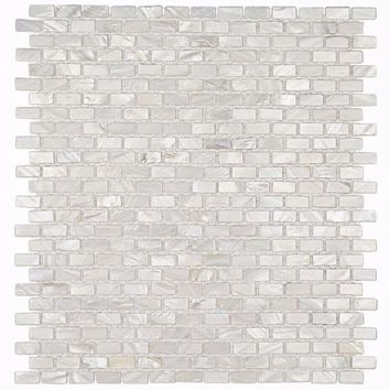 Splashback Tile Mother of Pearl Mini Brick Pattern 11-1/4 in. x 12-1/4 in. x 2 mm Pearl Mosaic Floor and Wall Tile-PITZY BRICK CASTEL DEL MONTE WHITE PEARL - The Home Depot