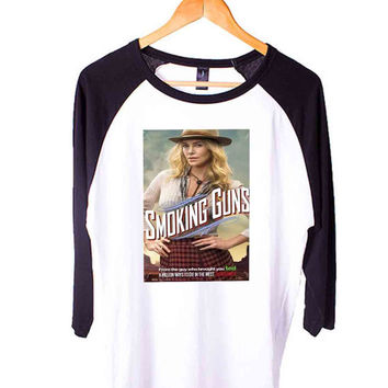 A Million Ways toDie in the West Smoking Guns Short Sleeve Raglan - White Red - White Blue - White Black XS, S, M, L, XL, AND 2XL*AD*