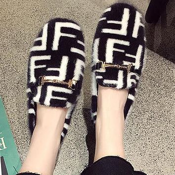 FENDI Autumn Winter Trending Women Stylish F Letter Suede Low Heel Warm Single Shoes Black