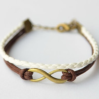 Brass Infinity Bracelet With Brown Wax Cord and White Braid Leather, Birthday Gift, Vintage bracelet
