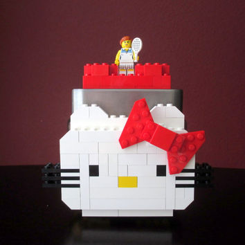 Lego Hello Kitty Glass Candy/Keepsake Jar~LEGO Minifigure & Bricks.LEGO Hello Kitty Party Birthday Gift. Centerpiece. Decoration.Home Decor.