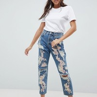 ASOS DESIGN Boyfriend Jeans In Mid Wash With Varigated Sequins at asos.com