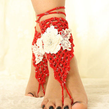 Red Crochet Handmade,Barefoot Sandals,Beach Wedding,Spring Wedding,Bridal Anklet,Summer wedding,Bangle,Boho