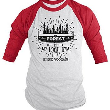 Men's Funny Lumberjack T-Shirt The Forest Local Gym Woodsman Tee 3/4 Sleeve Raglan