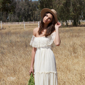 Off The Shoulder Ivory Vintage Wedding by DaughtersOfSimone