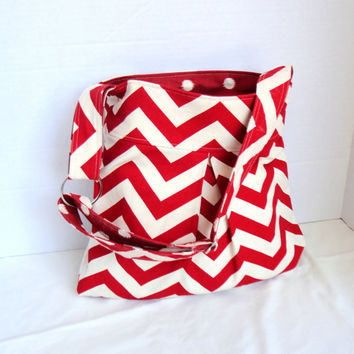 Pleated Hand Bag, purse or medium diaper bag in red/natural chevron print.  Original Design