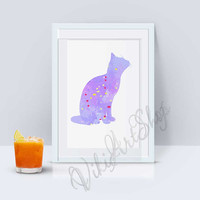 Cat Poster Art - Cat watercolor art, Home Decor, Nursery Art Decor, Cat Print Art, Animal Art