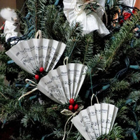 Christmas Ornament, Upcycled Hymn Music, Fan Shape Set Of Three