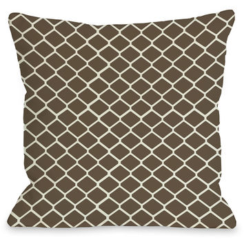 """Fence"" Indoor Throw Pillow by OneBellaCasa, Brown/Ivory, 16""x16"""