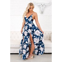 Stuck In My Head Floral Bodysuit Maxi (Navy)