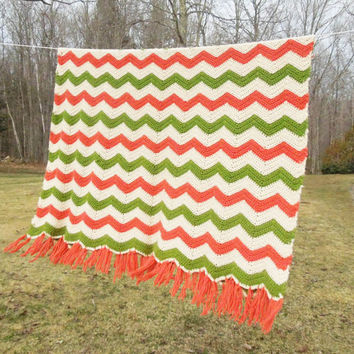 "Vintage crochet blanket afghan throw in orange moss-green and beige chevron pattern 68"" x 48"""