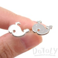 Small Whale Silhouette Shaped Stud Earrings in Silver | Animal Jewelry