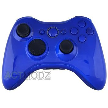 Custom Glossy Blue Full Housing repalacement For XBOX 360  Controller Shell