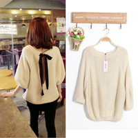 New Stylish Plush Korean Tan Sexy Open Tye Back Knit Jumper Top UK 8 10 12