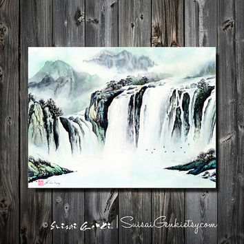 Quite and Peace, Waterfalls Landscape, Mountains, Lake, Giclee Print, 8x10, Watercolor Painting by Suisai Genki, Ink Wash Painting