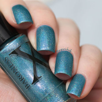 Aurora Sparks - Teal Holographic Polish with Real Sterling Silver Flakies & Purple Shimmer