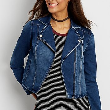 ultra soft denim moto jacket | maurices