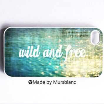 Iphone 4 Case Wild and Free Typography Ocean by HipsterCases