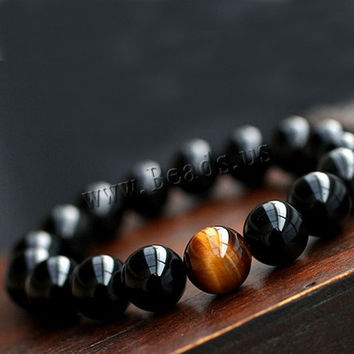 Tiger eye stone and natural black agate beads bracelet