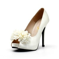 Ivory White Satin Wedding Shoes with Flowers