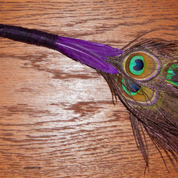 Feather Besom Broom or Smudge Wand - Peacock Feathers with Genuine Amethyst and Clear Quartz - Purple Wiccan Besom - OOAK - Free Shipping