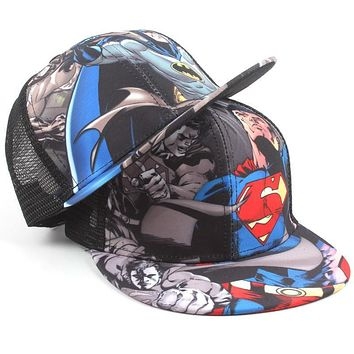 High quality New Pattern Children Net NY Cap Superman Hip Hop Hat Bat Chivalrous Sunshade Baseball Hat